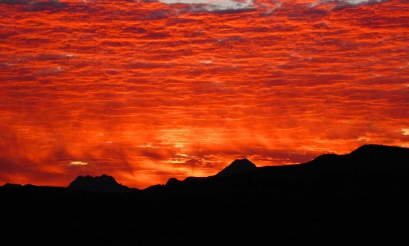 Sunrise over the Corazones, taken between Alpine and Terlingua, 12/2011