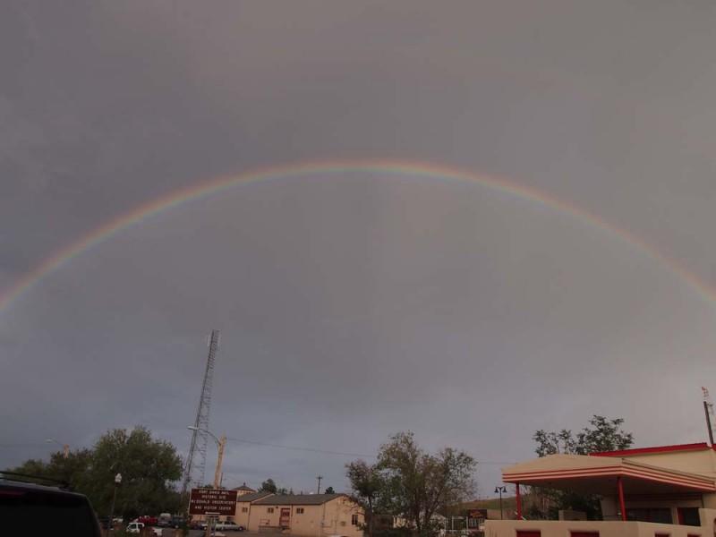 Rainbow outside Holland Hotel